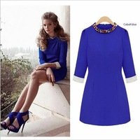 Spring 2014 Autumn Winter Solid Color Women Brief Dresses Slim Three Quater Blue Chiffon Dresses With Beaded Free Shipping
