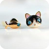 2015 Accessories Women Kitten Dollarfish Blue Rinestone Stud Earring