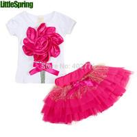 Top selling! Girls clothing sets Lovely Big flower T-shirt + tutu skirt 3D bow skirt 2014 baby  girl children's suits TLZ-T0102