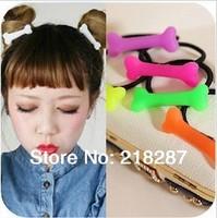 Free Shipping 2014 New 50pcs/lot Women Hair Ties Halloween Dog Bone Design Hair Bands Elastic Hair Ropes