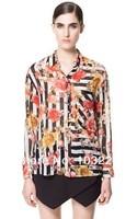 01 x 704 новой моды женщины дамы старинные мультфильм небо печати блузки элегантные рубашки случайные тонкий бренда дизайнер топы