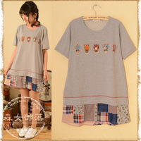 2014 spring women's cartoon color block decoration short-sleeve dress  mori girl style
