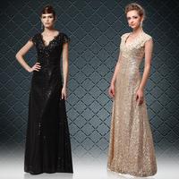 Evening dress fashion long design V-neck black formal dress gold sequin costume