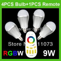 1PCS 4-Zone Wireless RF Remote+ 4PCS E27 2.4G 9W RGBW LED Bulb Light Lamp
