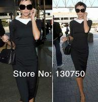 New 2014 Arrival Women's Gorgeous Star Victoria Beckham Vintage Three Quarter Sleeve Mid-Calf Slim Dress Dirndl Free Shipping