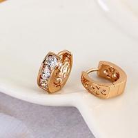 Small 18k 18ct Rose Gold Filled GF Princess CZ Hoop Huggie Earrings 13MM Free Shipping