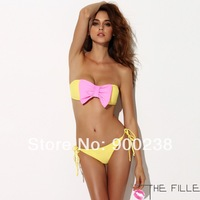 2014 New Perfection & Confidence THE FILLE Women's Sexy Yellow Bikinis set swimwear With Pink Bow  Free Shipping