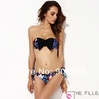 2014 New Beach Wear THE FILLE Women's Sexy Floral Print Bikinis set swimwear With Black Bow  Free Shipping