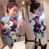 Huge Cartoon Print Casual Women Shirts Korea Style Novelty 2014 Spring Ladies Blouses Good Quality High Street Full Female Tee