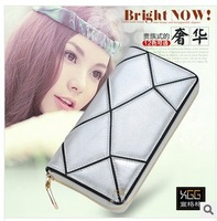 new leather clutch purse hit long plaid color stitching irregular Quilted leather bag phone hand bag wallet