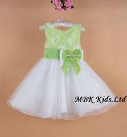 Hot Sale! New 2014 Wedding Girl Dress Baby Party Sleeveless Dresses Big Bow Girl's Gorgeous Princess Summer Dress 6pcs/lot