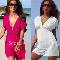 New 2014 Summer Women's Clothes Bat Sleeve Solid Color Beach Dress 4 Colors