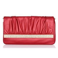 2014 Fashion Crystal Pu Leather Designer Brand Clutch Bag For Women Handbag Chain Shoulder Bag Purse Evening Bag Messenger Bags