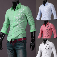 Hot sale 2014 New Mens star print Cotton Shirts Casual Slim Shirts Fit Stylish Mens Dress Shirts M/L/XL/XXL Free Shipping