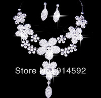 Wedding Jewelry Set Bridal Clear Crystal Flowers Link Chain Necklace with Clip on Earrings For Prom