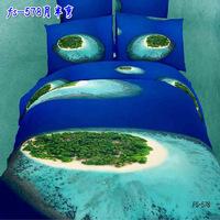 free shipping high quality luxury 3D 100%cotton blue sea island queen bedlinen duvet comforter cover set bedding set bedclothes