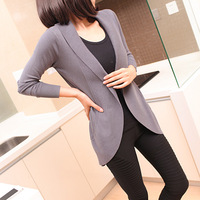 2014 spring women's medium-long turn-down collar cardigan cape outerwear slim sweater