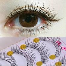 New 1set/10 Pairs Handmade Fake False Eyelash Lashes Natural Transparent Stem Black free shipping With Retail Box(China (Mainland))