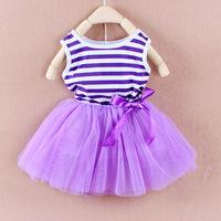2014 new children's dress girls summer vest dress, baby tutu, striped flower girls dress Free Shipping
