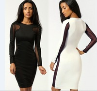2014 New Fashion Women Black White Long Sleeve Sexy lace Bandage Nightclub party Dress Bodycon Jumpsuit  Dresses