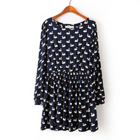 New 2014 HOT SALE Women Spring Autumn O Neck Long Sleeve Beautiful Swan Print Vintage Novelty Dress