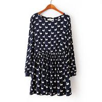 New 2014 HOT SALE Women Spring Autumn O Neck Long Sleeve Beautiful Swan Print Vintage Novelty Dress