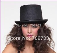 Free Shipping halloween black unisex silk ribbon white comfortable fashion felt party top hat