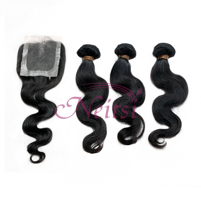 Prom Queen Hair Malaysian Virgin Hair 4pcs Lot 3pcs 16''-28''Body Wave Hair With 1pc 16'' Lace Closures Unprocessed Hair(