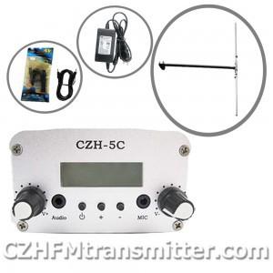 FMUSER CZH CZE-5C 5W FM stereo PLL broadcast transmitter hot sale 76-108MHZ+dp100 dipole FM antenna kit(China (Mainland))