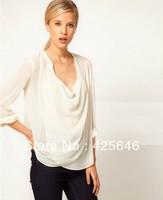Hot Selling Asymmetric Big V Neck See-Through Women's Casual Chiffon Sheer Shirts Blouses Tops Freeshipping#CGS012