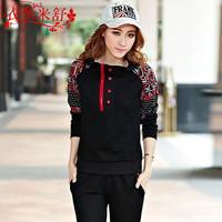 2014 spring women's casual set pullover sweatshirt female plus size twinset set x023