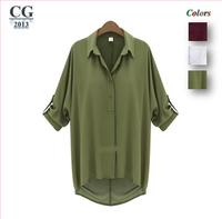Women's Loose Long Chiffon Casual Shirt Blouse Tops For Woman Female M L XL Black White Army Green Freeshipping#CGS011
