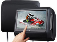 "Eonon 2x9"" Detachable Touch Screen Car Headrest DVD Player Monitor with 32bits Games/USB/SD/IR/FM Ttransmitter 800*480"