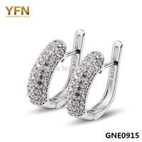 GNE0915 Elegant Jewelry AAA CZ Earrings fashion design 925 Sterling silver Hoop Earrings free shipping Charms Earrings for Women