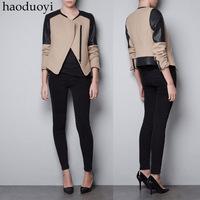 Black PU patchwork nerong jacket slim oblique zipper beige woolen outerwear haoduoyi