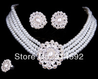 Wedding Jewelry Set Bridal Four-Row Faux Round Pearl Beads Link Necklace & Clip on Earrings & A Ring For Prom