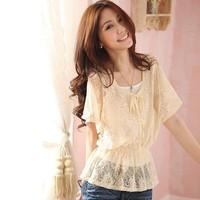 2014 spring lace shirt female plus size elegant slim waist slim twinset t-shirt basic shirt female