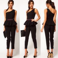 British style the waist beads flower one shoulder jumpsuit haoduoyi jumpsuit black