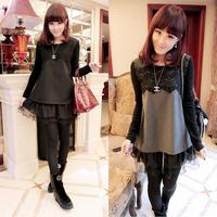 Spring basic shirt 2014 loose thickening woolen long lace design long-sleeve T-shirt