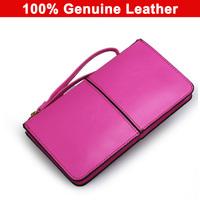 2014 New Designer Fashion 100% Oil Wax Cowhide Women Wallet Genuine Leather Women Korean Zipper Purse Large Capacity For Women
