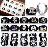 Wholesale Lots 50pcs Black Skull Animal Children Kid Resin Lucite Rings