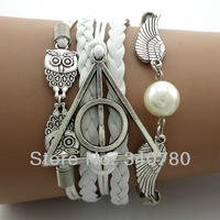 2014 new bracelet  Fashion Harry potter Triangle Hollow charms antique silver plated white leather cords bracelets N18