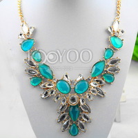 #621 High Quality Women Chocker Necklace Blue Diamond Flower Shaped Statement Necklaces Women Free Shipping 3pcs/lot