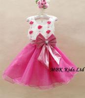 Hot Sale! Baby Girl's Party Dress Wholesale High Quality Kids Evening Dress Big Bow Flower Children Formal Dress 6pcs/lot