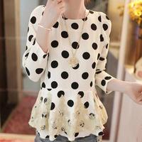 2014 spring lace chiffon shirt chiffon patchwork slim long-sleeve dress