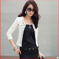 Spring 2014 women's spring and autumn all-match small rivet blazer design long-sleeve short outerwear female