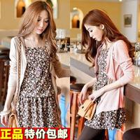 Young girl spring basic  2014 women's sweet short twinset long-sleeve fresh one-piece dress
