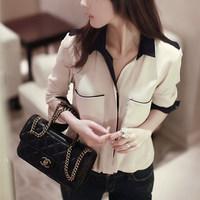 2014 spring color block shirt women's loose casual basic long-sleeve chiffon shirt top shirt