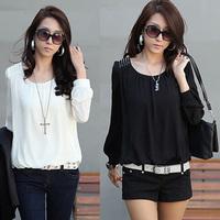 2014 spring lace shirt plus size white loose top basic shirt spring and autumn long-sleeve chiffon shirt