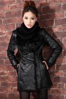 Free shipping  Women's coat water wash PU leather clothing wadded jacket female medium-long plus size thickening outerwear parka
